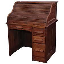 Oak Roll Top Secretary Desk by 1880s Quarter Sawn Locking Oak Roll Top Desk With Right Side