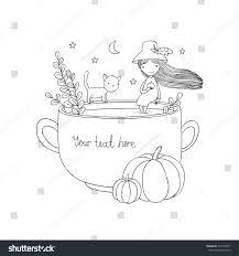 autumn theme halloween little cute stock vector 479145931