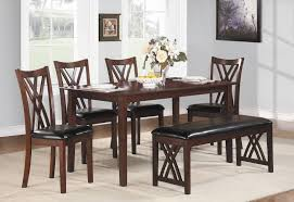 Dining Room Set Bench 6piece Turino Dining Set Round Dining Table With Bench Acme