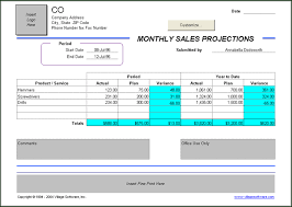 Monthly Sales Report Template Excel Monthly Sales Projections Template
