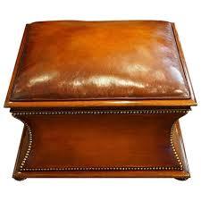 Mahogany Ottoman Square Leather And Mahogany Ottoman At 1stdibs