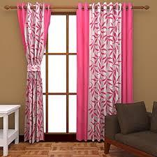 star trendz polyester pink b white eyelet window door curtain set