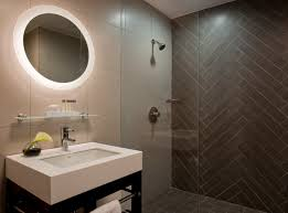check out this modern bathroom design love the herringbone tile