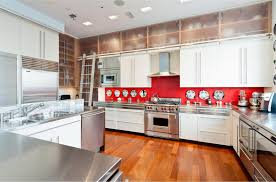 red tile backsplash kitchen white cupboards light countertop gorgeous home design