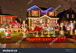 houses neighborhood decorated lighted new stock photo