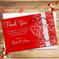 10 personalised hearts wedding day thank you cards n125