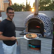 wood burning pizza oven with cast iron door u0026 tile mosaic