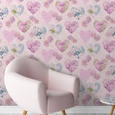 Pink Wallpaper For Walls by Heart Themed Wallpaper Girls Bedroom Pink Various Designs