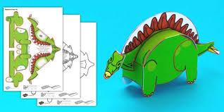 simple 3d printable paper stegosaurus dinosaur activity