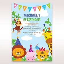 Jungle Theme Invitation Card Zoo Birthday Invitation Ajordanscart Com