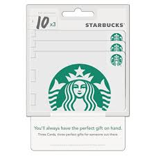 starbuck gift cards starbucks 30 value gift cards 3 x 10 gift cards sam s club