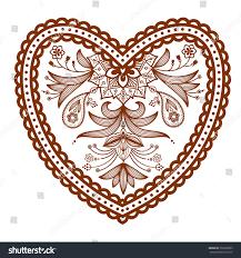decorated heart henna tattoo mehndi style heart stock vector