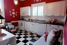 kitchen with black and white checkerboard linoleum flooring
