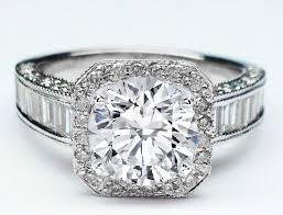 engagement rings with baguettes engagement ring halo baguettes band engagement ring in