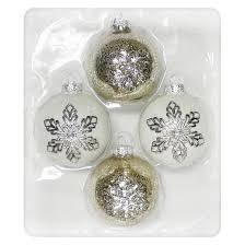 4ct gold white snowflake glass ornament set wondershop