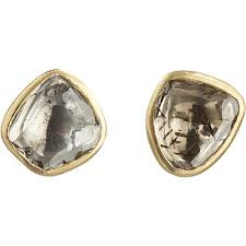 back diamond earrings lyst pippa small foil back diamond stud earrings in metallic