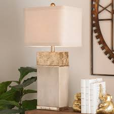 concrete block gold leaf table lamp shades of light