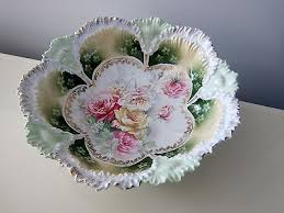 rs prussia bowl roses antique rs prussia bowl painted flowers scalloped edges