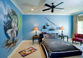bedroom blue colour idea with dark wall black canopy round bed and