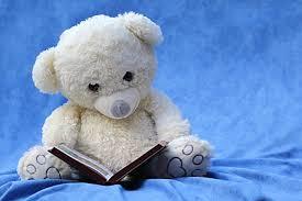 white teddy reading book free stock photo