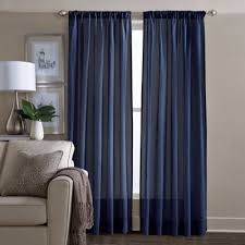 Sheer Navy Curtains Buy Navy Blue Curtains Window Treatments From Bed Bath Beyond