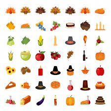 set of colorful icons for thanksgiving day vector free