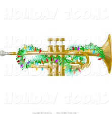 royalty free holiday gold trumpet instrument decorated with
