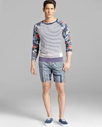 scotch u0026 soda stripe and floral print sweater in white for men lyst
