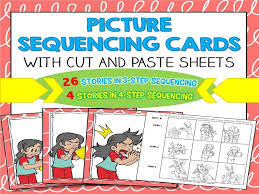 story sequencing cards with cut and paste sheets 3 step and 4