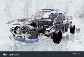 rusty car white background disassembled car on background drawing3d render stock illustration