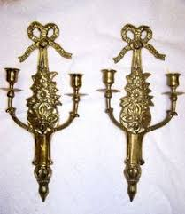 Candelabra Wall Sconces Antique Solid Brass Double Arm Candle Wall Sconces Pair Of 2