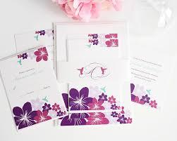 destination wedding invitations with hummingbirds and flowers