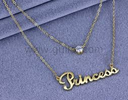 custom gold necklace two chain gold plated my name necklace silver personalized couples