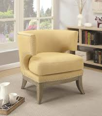 coaster 902562 barrel back accent chair bumblebee yellow upholstery