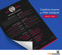 Free Graphic Design Resume Templates by Free Creative Resume For Web Designer Psd Psdfreebies