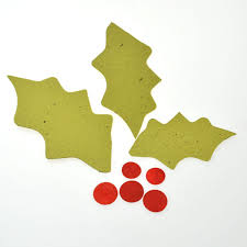seed paper holly leaves and berries perfect for handmade