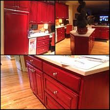 Red And Black Kitchen Cabinets by Kitchen Black Glaze Over Reds Angelfish Studios Marvellous Images