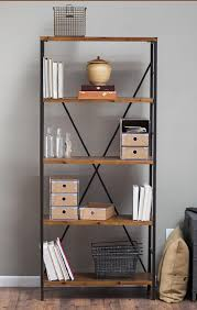 amazon com rustic wood bookcase with adjustable shelves featuring