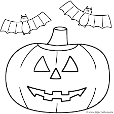 pumpkin jack o lantern with bats coloring page halloween