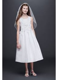 communion dress sleeveless tulle communion dress with 3d flowers david s bridal