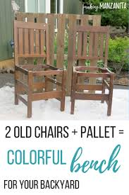 colorful upcycled chair bench for your backyard making manzanita