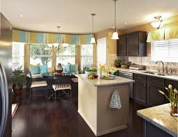 appealing bay window plus double drapery color closed tiny kitchen