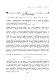 Enthalpy Recovery Ventilator Analysis Of Mechanical Ventilation System With Heat Recovery In