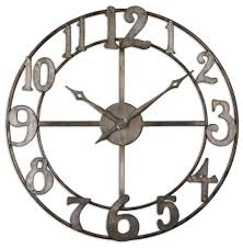 silver wall clock large numbers made metal silver leaf edges home