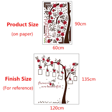 pvc removable photo frames tree wall stickers red flowers decal