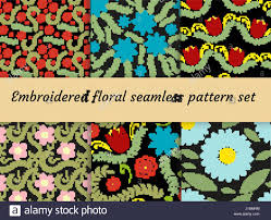 embroidery trendy floral seamless pattern flowers ornament