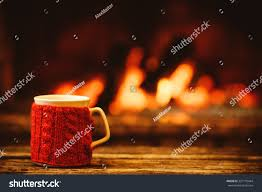 cup drink front warm fireplace stock photo 327170444