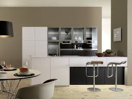 modern kitchen design stainless steel countertop open shelves