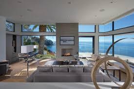living room glass walls ocean views beach house in laguna beach