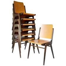 set of 12 stacking chairs by franz schuster austria 1950s for